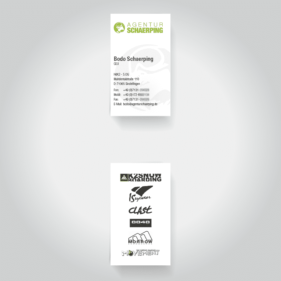 Visitenkartengestaltung Agentur Schaerping